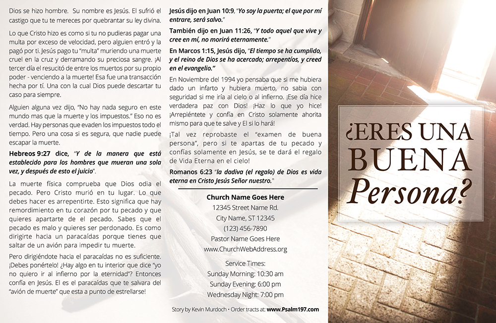 Eres Una Buena Persona? Spanish Gospel Tract by Psalm 197